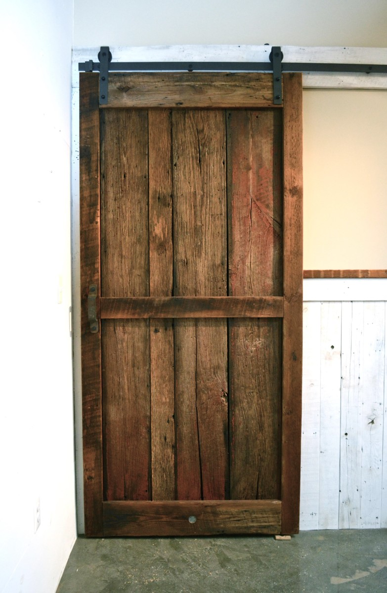 Remarkable reclaimed wood entry doors contemporary for Recycled interior doors